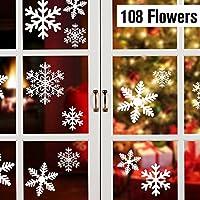 108 Schneeflocken, Fensterdeko, Fensterbilder für Weihnachts- und Winter- Dekoration, für Türen ,Schaufenster, Vitrinen, Glasfronten und mehr