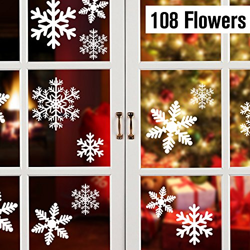 108 Fensterdeko Schneeflocken Schneeflocken Fensterbilder Abnehmbare Fensterdeko Statisch Haftende PVC Aufkleber für Weihnachts-Fenster Dekoration, Türen ,Schaufenster, Vitrinen, Glasfronten
