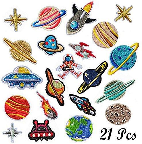 Woohome Flicken Patches, 21 Stück Raum Astronaut Zum Aufbügeln Patch Sticker Applikationen Zum Nähen Oder Aufbügeln für Denim Jeans, Hosen and Jacken, Bügelflicken Set, Dekoration and Repariere