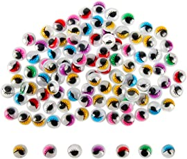 TOYMYTOY 100pcs 15mm Wiggle Googly Eyes | Self-Adhesive, Assorted Colors