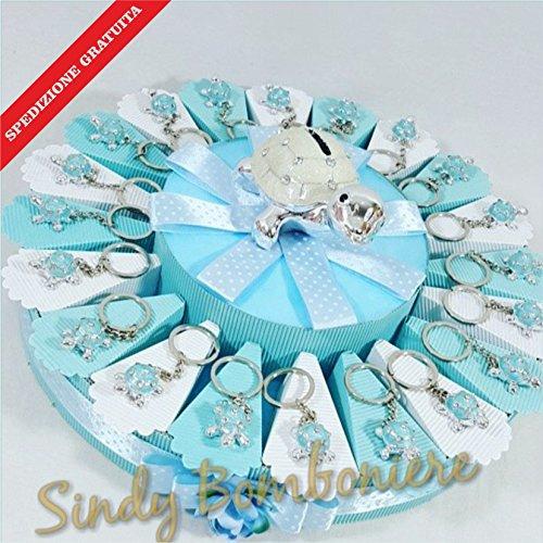 Torta bomboniera tartaruga bimbo portachiavi spedizione inclusa nascita battesimo compleanno (torta da 20 fette)