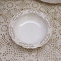 njhswlti Juego de Cubiertos de cerámica Blanco Hueco Retro de Borde de Coque/Plato/