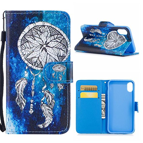 """MOONCASE iPhone X Flip Cover, [Colorful Pattern] Wristbands avec Support Protection Étuis Case Built-in Card Slots Cuir Housse pour iPhone X 5.8"""" Purple Chimes"""