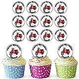 Vorgeschnittene Personalisierte Vespa Scooter - Essbare Cupcake Topper / Kuchendekorationen (24 Stück)
