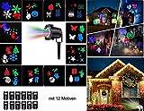 LED Projektionslampe Licht Wasserdicht für Innen und Außen Fochea Projektor Lichter Weihnachten Lichteffekt 10 Folien für Hochzeit Geburtstag Weihnachten Halloween