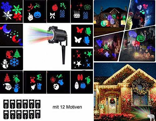 Licht Wasserdicht für Innen und Außen Fochea Projektor Lichter Weihnachten Lichteffekt 10 Folien für Hochzeit Geburtstag Weihnachten Halloween ()