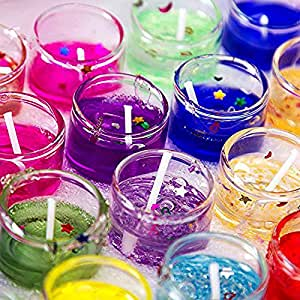 Alria Luxury Small Multicolour Smokeless Decorated Mini Cute Little Glass Jelly Gel Candles for Home Decor Diwali Decoration,Spa,Birthdays Party,Festivals (Set of 12 Pieces)