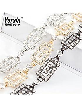 SILIU*Vestidos de verano bien decorado elegante Sra. cintura wild water perforación cintura mosaico Link , Oro...