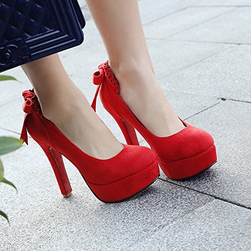 Mee Shoes Damen high heels mit Schleife runde Plateau Pumps Rot di7n4lj9WN