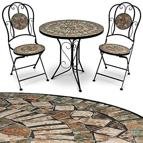 Mosaik Gartenmöbel Sitzgarnitur Sitzgruppe Balkonset Tisch Barcelona 3tlg. Set