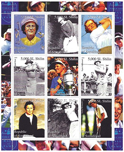 lady-golfers-female-golf-stars-stamp-sheet-with-betty-jameson-patty-berg-betsy-king-and-louise-suggs