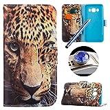 Etsue für Samsung Galaxy J5 [Leopard Augen] Kunstleder Schutzhülle Tasche