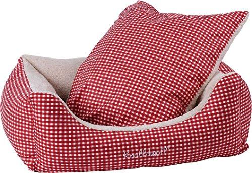 Knuffelwuff 13100 Kuschel Hundebett Lina Karo – Größe XL, 105 x 75 cm, rot - 2