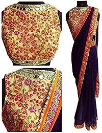 Sarees ( Blue Color Raw Silk Fabric ThreadWork Saree, New Arrival Latest Best Choice And Design Beautiful Sarees...