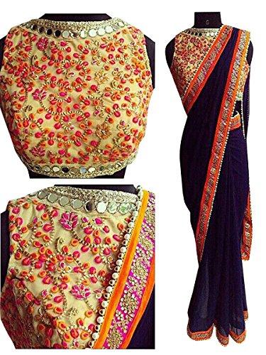 Sarees ( Blue Color Raw Silk Fabric ThreadWork Saree, New Arrival Latest...