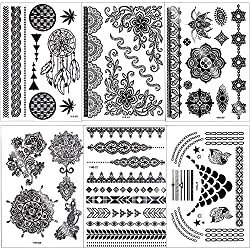 Outee 15 Sheets Black Temporary Tattoos Fake Jewelry Tattoos Henna Temporary Tattoos Temporary Flash Tattoos For Adults & Kids