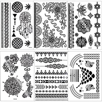 Outee 15 Sheets Black Temporary Tattoos Fake Jewelry Tattoos Henna Temporary Tattoos Temporary Flash Tattoos For Adults & Kids 0