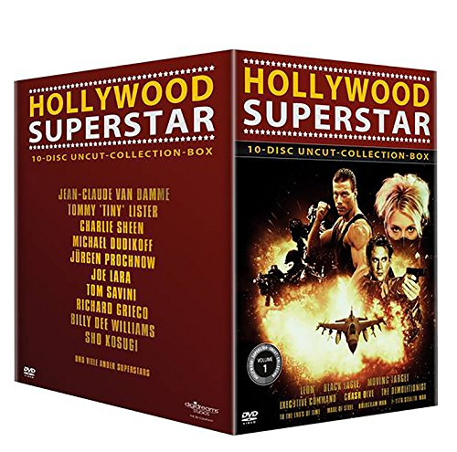 Hollywood Superstar Uncut-Collection-10erBox (Leon - Black Eagle - Moving Target - Executive Command - Crash Dive - The Demolitionist - To the End´s ... Hologram Man - F 117A Stealth War) [10 DVDs]