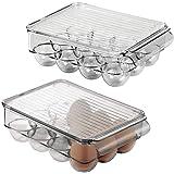 mDesign ägghållare med plats för 12 ägg – ägglåda i plast med lock för förvaring av ägg – äggställ för kylskåp eller skafferi