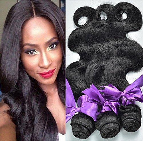 Meylee Brasilianische Jungfrau Menschliches Haar Körper Welle 3-Pack Bundle 100% Unverarbeitete menschliche Haare webt Remy Natural Black Color , 8 10 12 (Menschliche Brasilianischen Haar-erweiterungen)