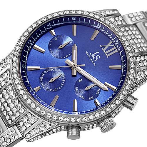 Joshua and Sons JX138SSBU - Reloj para hombre, esfera azul con cristales