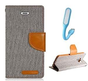 HTC Desire 626 Premium Flip Cover And USB Light (Matte Grey) By Online Street
