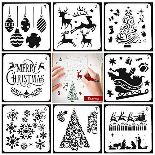 PAWACA Stampini Natalizi Natale Stencil Set di Modelli in Scala, 8 Pezzi Diverso Stile Merry Christmas Stencil Alci Neve Fiocco Stencil per La Pittura su Legno, Creazione di Carte Artigianali