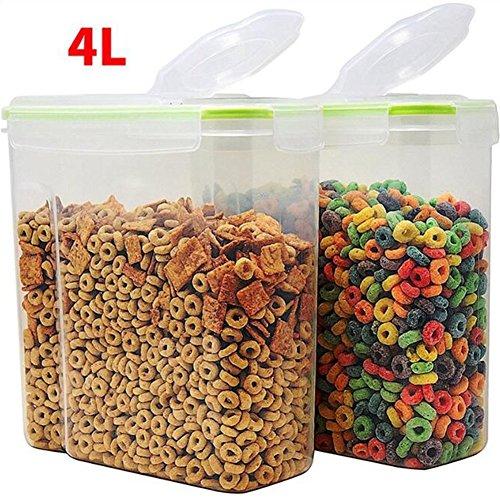 Color Zebra Super große Kapazität Getreide Vorratsbehälter - Kunststoff Lagerung 4L (16,9 Tasse 135,2 Unzen) Container mit dichtem Deckel Deckel - geeignet für Zucker, Reis, Nüsse, Snacks, Pet Food & More (2 Stück, grün)