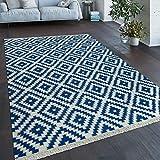 Paco Home Teppich Modern Marokkanische Muster Handgewebt Skandi Rauten Fransen Blau Weiß, Grösse:120x170 cm