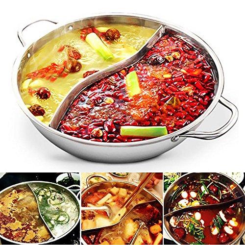 QuiCi 34cm Edelstahl Hot Pot Kochgeschirr Shabu Dual Baustellen Induktion kompatibel