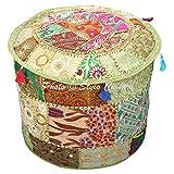 Stylo Culture Pouffe Fußhocker große Abdeckung Boden Pouf grün Indische Bestickt Patchwork Baumwolle traditionelle Runde Stoff Hocker Ottoman Cover (22x22x13 Zoll) 55cm