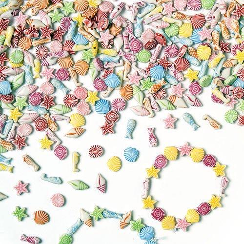 """Baker Ross Mini-Perlen \""""Strand und Meer\"""" - für Kinder zum Basteln von Schmuck - Ketten - Armbändern - 400 Stück"""