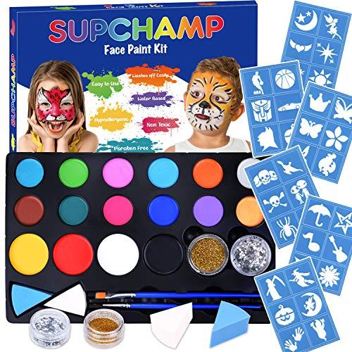 Supchamp Kinderschminke Set Face Paint,Schminkset für Kinder, 16-farbige, ungiftige Schminkpalette mit 36 Schablonen, Makeup für Kinder geeignet, Schminkset für Halloween und Fasching