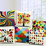 #6: AEROHAVEN™ Set of 5 Multi Colored Decorative Hand Made Cotton cushion covers 16