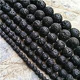 Juliewang 1fil Noir naturel Pierre de lave d'énergie Pierre pouvoir de guérison pour la confection de bijoux 420, 6mm