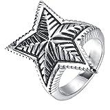UMtrade Gioielli Anello da Uomo Stella Pentagramma Foglia Anelli Acciaio Inossidabile Colore Nero Argento