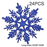 Hey~Yo 24 Stk. Schneeflocken Weihnachten Deko für Weihnachtsbaum Glitzer Weihnachtsbaumschmuck Schneeflockendekoration Fensterdekoration aufhaengen 10cm (Blau)