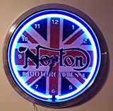 NEONUHR-NEON CLOCK-38 cm DIAMETER-NEONUHR NORTON MOTORCYCLE-WANDUHR BELEUCHTET NEON BLAU-ERHÄLTLICH AUCH MIT ANDEREN NEON FARBEN!
