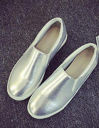 ShangYi gyht Scarpe Donna-Mocassini-Tempo libero / Casual / Sportivo-Comoda-Piatto-Finta pelle-Nero / Bianco / Argento / Dorato Silver