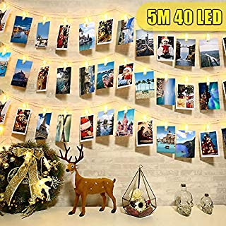 40 LED Peg Lights Fairy Lights Photo Clips String Lights, Photo Hanging String and Pegs, Christmas Peg Photo Frames Lights Decorations, Card Display Wall
