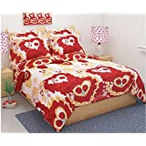 Gharshingar 140 TC Heart Couple Love Wrinkle Free Single Bedsheet With Pillow Cover/Bedsheets For Wedding Gift