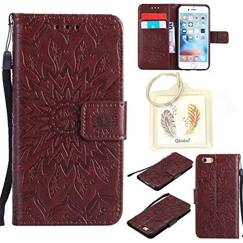 """Preisvergleich Produktbild für Iphone 6s (4,7"""") Geprägte Muster Handy PU Leder Silikon Schutzhülle Handy case Book Style Portemonnaie Design für Apple Iphone 6s (4,7"""") + Schlüsselanhänger456 (1)"""