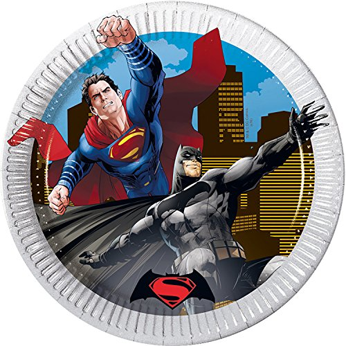 s 20 cm Batman Vs Superman Party Teller, 8 Stück (Superman Party Supplies)