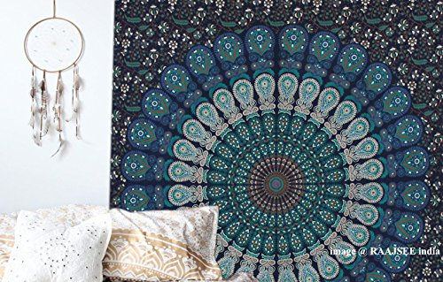 Raajsee Indisch Psychedelic Wandteppich Mandala Blau Turquoise Tapestry / Elefant Boho Wandtuch Hippie/ Mehrfarbige Indischer Wandbehang Mandala Tuch Twin 54x84 Inches / Indien baumwolle Bohemian Wand tucher 140x210 cms