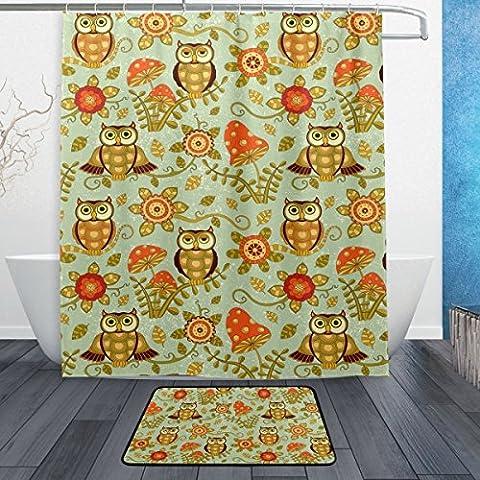 baihuishop Blumen und süße Eulen Owl 3-teiliges Badezimmer Set, maschinenwaschbar für den täglichen Gebrauch, inkl. 152,4x 182,9cm Wasserdicht Duschvorhang, 12Dusche Haken und 1rutschfeste Badezimmer Teppich Carpet–Set von 3