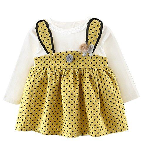 Langram Mädchen Kleider, Baywell Niedliches Häschen Muster Mädchen dünnes Kleid mit Schwarzem Punkt Druck (Gelb, XS/73CM/70)