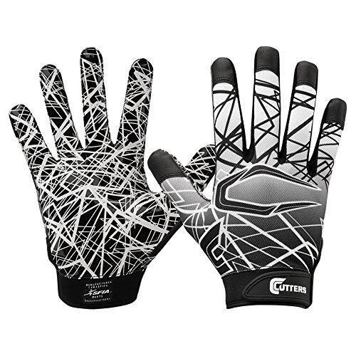 Cutters Jugend und Senior S150 Game Day Receiver Handschuhe Youth Adult Gloves - Schwarz Gr. XL