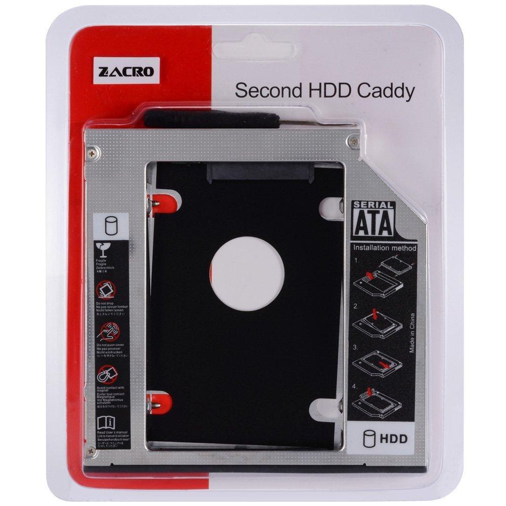 Zacro SATA HDD HD SATA Segundo 2.5 '' Disco Duro Caddy/Optical Bahía de Disco Duro SATA de 12,7 mm Portátil de CD/DVD-ROM de HP Sony Acer IBM ASUS Fujitsu Toshiba etc