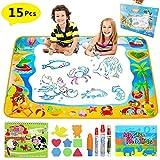 Pachock Grande Doodle Tappeto Magico 100CM x 70CM, Acqua Doodle Tappeto Disegno con 4 Penne Magiche ,1 Libretto di Design, 8 Template e 1 Libro Magico dell'Acqua per Bambini Regalo