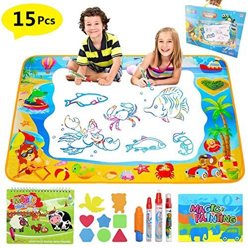 Pachock 100*70CM Agua Dibujo Pintura, Alfombra de Agua Doodle, Agua Doodle esteras mágicas con 8 Plantillas de EVA, 1Folleto, 4 bolígrafos mágicos y1 Libro de Dibujo Juguetes educativos para niños